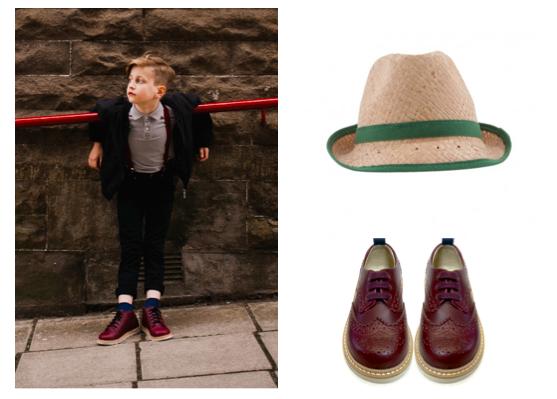 Chapeau de paille, Nathalie Verlinden sur Smallable et chaussures en cuir, Young Soles.