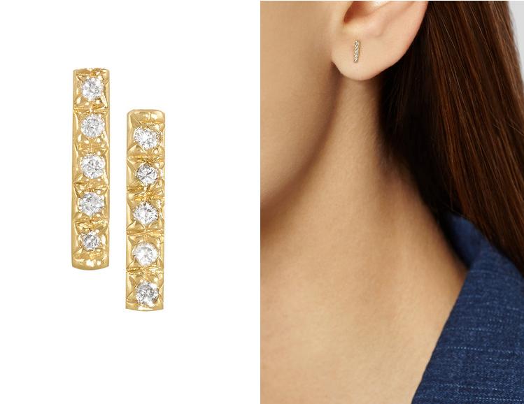 Boucles d'oreilles en or 14 carats et diamants, Wendy Nichol