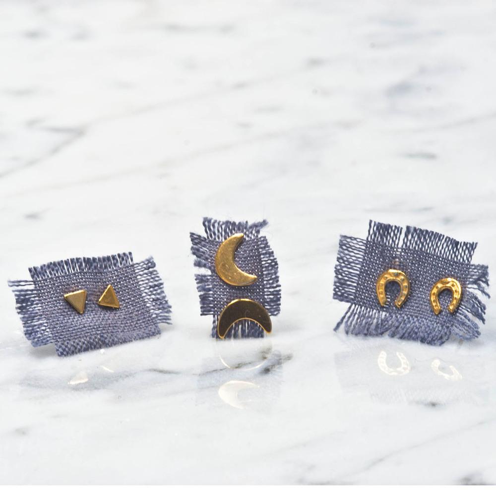 Puces d'oreilles dorées à l'or fin, Cécile Pic