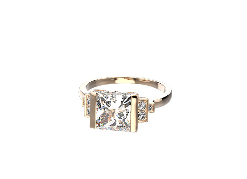 Bague Castel, en or rose, quartz et diamants, personnalisable, Gemmyo