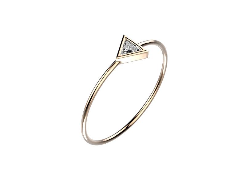 Bague Mini Bride Trillion, en or rose et diamant, Gemmyo