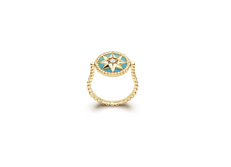 Bague Rose des Vents, or jaune, diamant et turquoise avec médaillon mobile, Dior