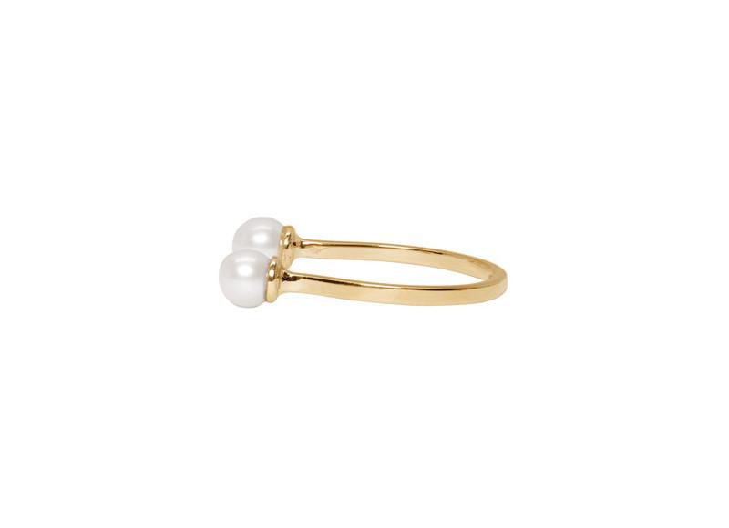 Bague dorée Double Pearl en or jaune 9 carats, Delfina Delettrez
