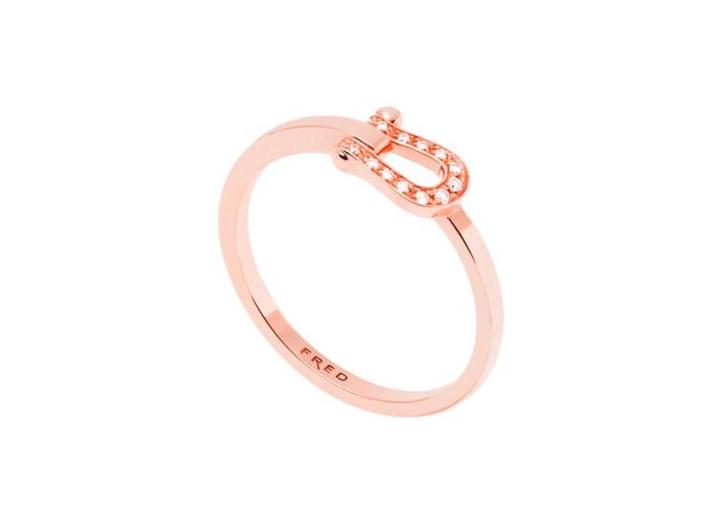 Bague Force 10 petit modèle, en or rose et diamants, Fred