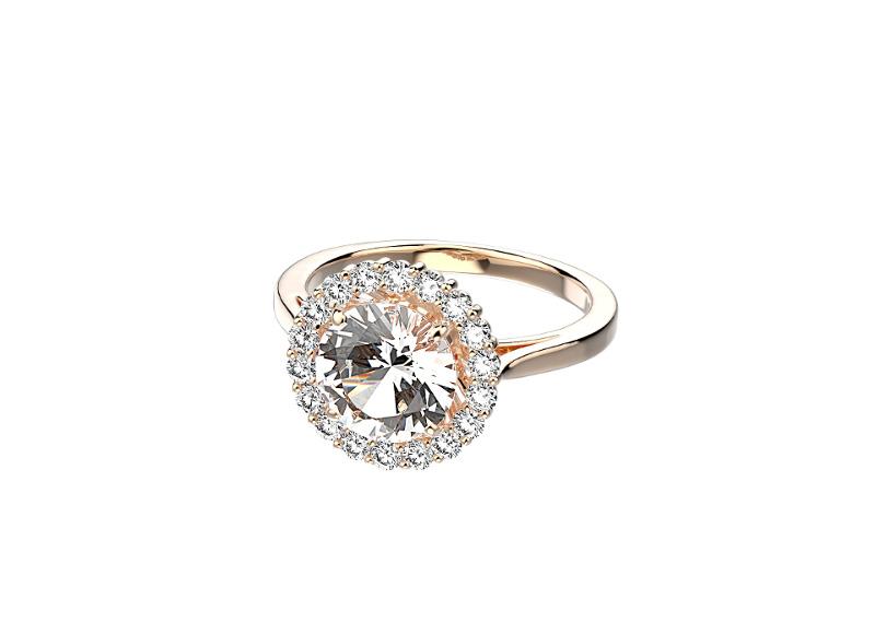 Bague Gaïa, en or rose, quartz et diamants, pierre personnalisable (saphir, aigue-marine, citrine, etc.), Gemmyo