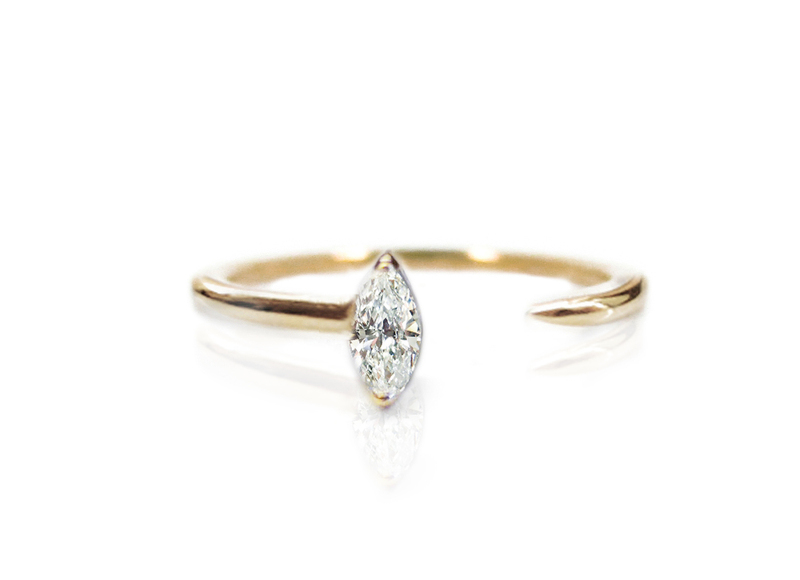Marquise diamant Crescendo Ring, Katkim